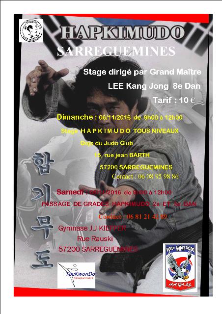 Le club de HAPKIDO de Sarreguemines - Lorraine: Stage Hapkimudo en novembre